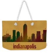 Indianapolis Skyline Watercolor On Parchment Weekender Tote Bag
