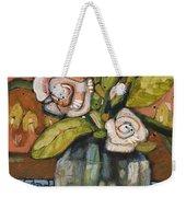 Indigo And Orange Floral Weekender Tote Bag