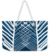 Indigo And White Leaves- Abstract Art Weekender Tote Bag