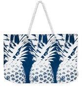 Indigo And White Pineapples Weekender Tote Bag by Linda Woods