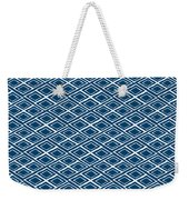 Indigo And White Small Diamonds- Pattern Weekender Tote Bag