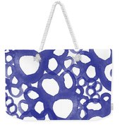 Indigo Bubbles- Contemporary Absrtract Watercolor Weekender Tote Bag by Linda Woods