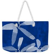 Indigo Flowers Weekender Tote Bag by Linda Woods