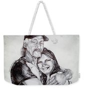 Ink Portrait Of My Father And I Weekender Tote Bag