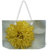 Inner Section Of A White Peony Weekender Tote Bag
