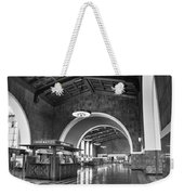 Inside Los Angeles Union Station In Black And White Weekender Tote Bag