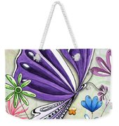 Inspirational Butterfly Flower Art Inspiring Quote Design By Megan Duncanson Weekender Tote Bag