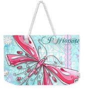 Inspirational Dragonfly Floral Art Inspiring Art Quote Be Passionate By Megan Duncanson Weekender Tote Bag