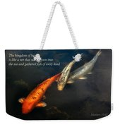 Inspirational - Gathering Fish Of Every Kind - Matthew 13-47 Weekender Tote Bag by Mike Savad