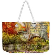 Inspirational - Home Is Where It's Warm Inside - Ben Franklin Weekender Tote Bag by Mike Savad