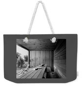 Interior End Of Porch With Vertical Louvers Weekender Tote Bag