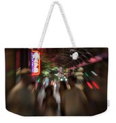 International Cafe Neon Sign And Street Scene At Night Santa Monica Ca Landscape Weekender Tote Bag