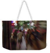 International Cafe Neon Sign And Street Scene At Night Santa Monica Ca Portrait Weekender Tote Bag