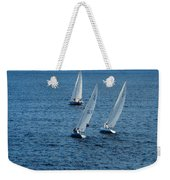 Into The Wind - Crisp White Sails On Blue Weekender Tote Bag