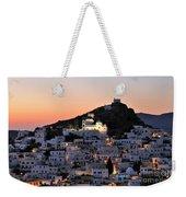 Ios Town During Sunset Weekender Tote Bag