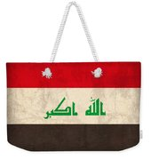 Iraq Flag Vintage Distressed Finish Weekender Tote Bag by Design Turnpike