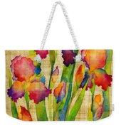 Iris Elegance On Yellow Weekender Tote Bag
