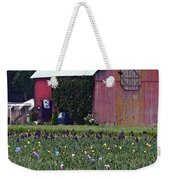Iris Field And Barn Weekender Tote Bag