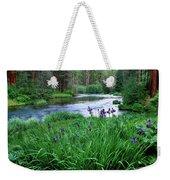 Iris Flowers By The Metolius River Weekender Tote Bag