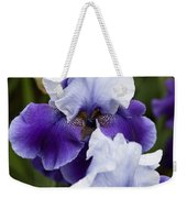 Iris Purple And White Fine Art Floral Photography Print As A Gift Weekender Tote Bag