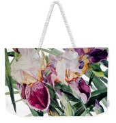 Watercolor Of Tall Bearded Irises I Call Iris Vivaldi Spring Weekender Tote Bag