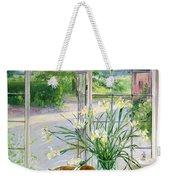 Irises And Sleeping Cat Weekender Tote Bag
