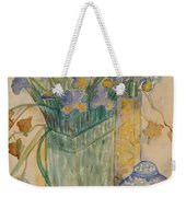Irises With Chinese Pot Weekender Tote Bag