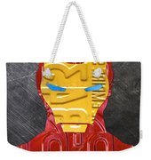 Iron Man Superhero Vintage Recycled License Plate Art Portrait Weekender Tote Bag
