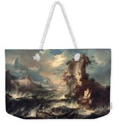 Italian Seascape With Rocks And Figures Weekender Tote Bag by Marco Ricci