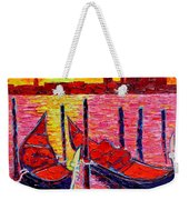 Italy - Venice Gondolas - Abstract Fiery Sunrise  Weekender Tote Bag