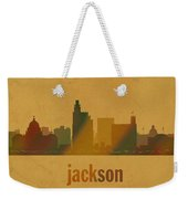 Jackson Mississippi City Skyline Watercolor On Parchment Weekender Tote Bag