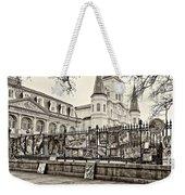 Jackson Square Winter Sepia Weekender Tote Bag