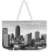 Jacksonville Skyline Morning Day Black And White Bw Panorama Florida Weekender Tote Bag