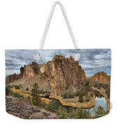 Jagged Peaks And River Reflections Weekender Tote Bag