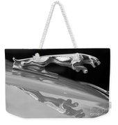 Jaguar Car Hood Ornament Reflection Bw Weekender Tote Bag
