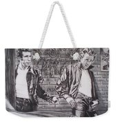 James Dean Meets The Fonz Weekender Tote Bag by Sean Connolly