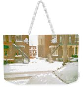 January Winter Street Winding Snow Covered Staircase Montreal Art Verdun Duplex Painting Cspandau Weekender Tote Bag