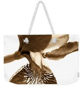 Japanese Iris Flower Sepia Brown Weekender Tote Bag