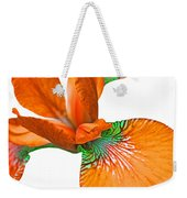 Japanese Iris Orange White Five Weekender Tote Bag