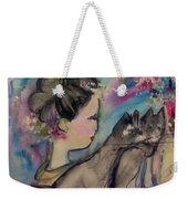 Japanese Lady And Felines Weekender Tote Bag