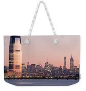 Jersey City And New York City  With Manhattan Skyline Over Hudso Weekender Tote Bag