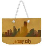 Jersey City New Jersey City Skyline Watercolor On Parchment Weekender Tote Bag