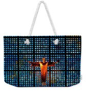 Jesus Sculpture And Blue Glass Background Weekender Tote Bag