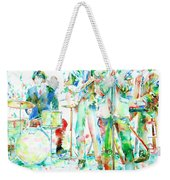 Jim Morrison And The Doors Live On Stage- Watercolor Portrait Weekender Tote Bag