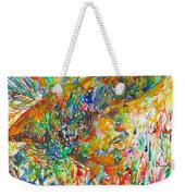 Jimi Hendrix With Hat Watercolor Portrait Weekender Tote Bag