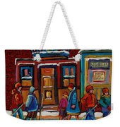 Joe Beef Restaurant And Boys With Hockey Sticks Weekender Tote Bag