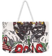 Joe Montana And Jerry Rice Weekender Tote Bag by Jeremiah Colley