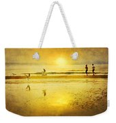 Jogging On Beach With Gulls Weekender Tote Bag