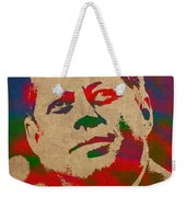 John F Kennedy Jfk Watercolor Portrait On Worn Distressed Canvas Weekender Tote Bag by Design Turnpike