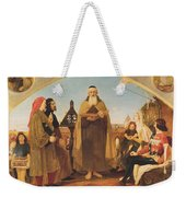 John Wycliffe Reading His Translation Of The Bible To John Of Gaunt Weekender Tote Bag